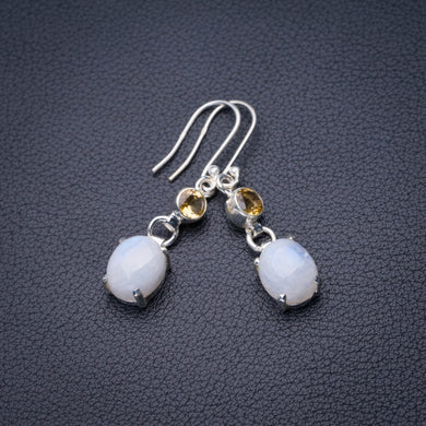 StarGems Natural Rainbow Moonstone And Citrine Handmade 925 Sterling Silver Earrings 1.75