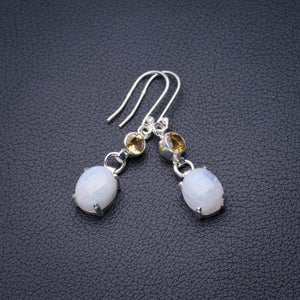 "StarGems Natural Rainbow Moonstone And Citrine Handmade 925 Sterling Silver Earrings 1.75"" D6516"