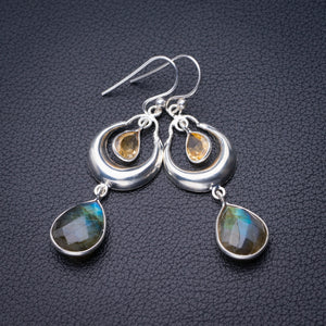 "StarGems Natural Blue Fire Labradorite And Citrine Handmade 925 Sterling Silver Earrings 2"" D6593"