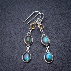 "StarGems Natural Blue Fire Labradorite And Citrine Handmade 925 Sterling Silver Earrings 2"" D6610"