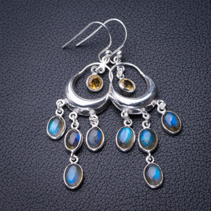 "StarGems Natural Blue Fire Labradorite And Citrine Handmade 925 Sterling Silver Earrings 2.25"" D6613"