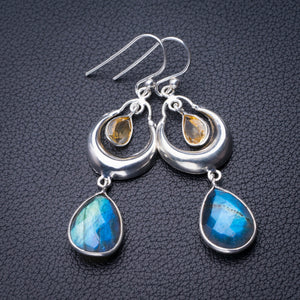 "StarGems Natural Blue Fire Labradorite And Citrine Handmade 925 Sterling Silver Earrings 2"" D6630"