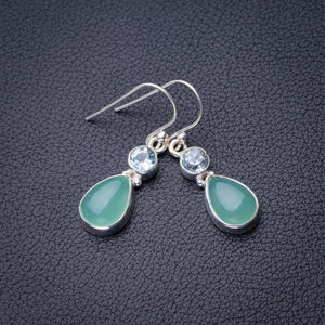 "StarGems Natural Chalcedony And Blue Topaz Handmade 925 Sterling Silver Earrings 1.25"" D6676"