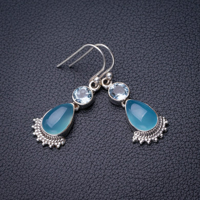 StarGems Natural Chalcedony And Blue Topaz Handmade 925 Sterling Silver Earrings 1.5