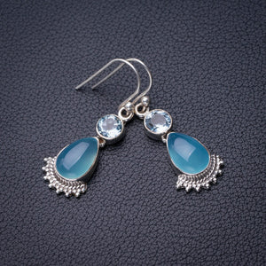 "StarGems Natural Chalcedony And Blue Topaz Handmade 925 Sterling Silver Earrings 1.5"" D6677"