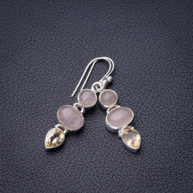 StarGems Natural Rose Quartz And Citrine Handmade 925 Sterling Silver Earrings 1.5