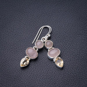 "StarGems Natural Rose Quartz And Citrine Handmade 925 Sterling Silver Earrings 1.5"" D6761"