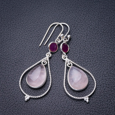 StarGems Natural Rose Quartz And Chalcedony Handmade 925 Sterling Silver Earrings 2