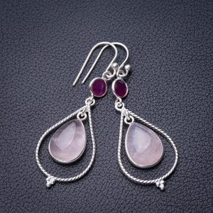 "StarGems Natural Rose Quartz And Chalcedony Handmade 925 Sterling Silver Earrings 2"" D6767"