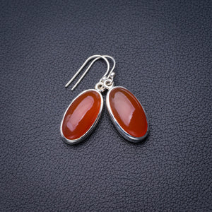 "StarGems Natural Carnelian Handmade 925 Sterling Silver Earrings 1.5"" D6844"