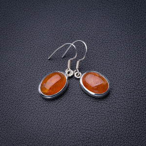 "StarGems Natural Carnelian Handmade 925 Sterling Silver Earrings 1.5"" D6845"