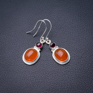 "StarGems Natural Carnelian And Amethyst Handmade 925 Sterling Silver Earrings 1.5"" D6846"