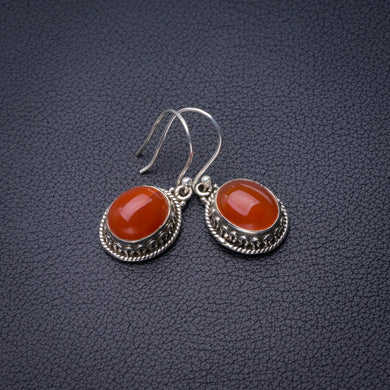 StarGems Natural Carnelian Handmade 925 Sterling Silver Earrings 1.5
