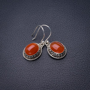 "StarGems Natural Carnelian Handmade 925 Sterling Silver Earrings 1.5"" D6847"