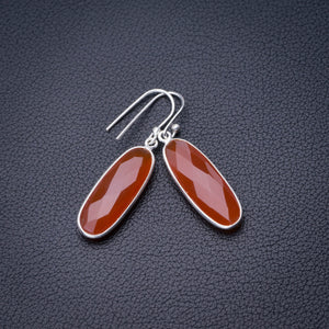 "StarGems Natural Carnelian Handmade 925 Sterling Silver Earrings 1.5"" D6848"