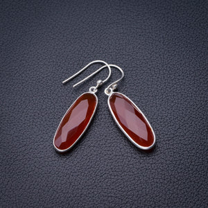 "StarGems Natural Carnelian Handmade 925 Sterling Silver Earrings 1.5"" D6849"