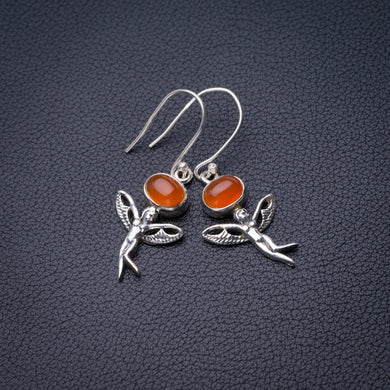StarGems Natural Carnelian Fariy Handmade 925 Sterling Silver Earrings 1.75