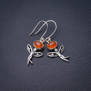 "StarGems Natural Carnelian Fariy Handmade 925 Sterling Silver Earrings 1.75"" D6850"