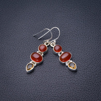 StarGems Natural Carnelian And Citrine Handmade 925 Sterling Silver Earrings 1.5