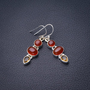 "StarGems Natural Carnelian And Citrine Handmade 925 Sterling Silver Earrings 1.5"" D6851"