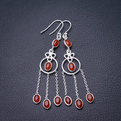 StarGems Natural Carnelian Handmade 925 Sterling Silver Earrings 2.5