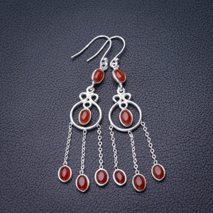 "StarGems Natural Carnelian Handmade 925 Sterling Silver Earrings 2.5"" D6853"