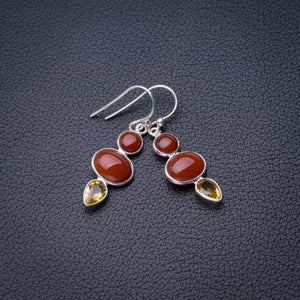 "StarGems Natural Carnelian And Citrine Handmade 925 Sterling Silver Earrings 1.5"" D6854"