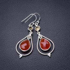 "StarGems Natural Carnelian And Citrine Handmade 925 Sterling Silver Earrings 2"" D6855"