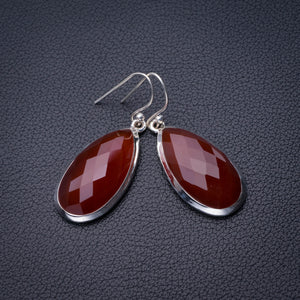 "StarGems Natural Carnelian Handmade 925 Sterling Silver Earrings 1.75"" D6856"