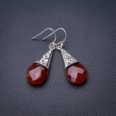 StarGems Natural Carnelian Handmade 925 Sterling Silver Earrings 1.75