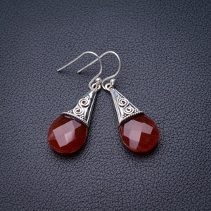 "StarGems Natural Carnelian Handmade 925 Sterling Silver Earrings 1.75"" D6857"
