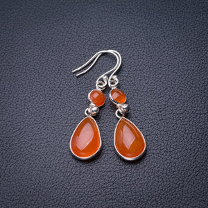 "StarGems Natural Carnelian Handmade 925 Sterling Silver Earrings 1.75"" D6858"