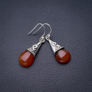 "StarGems Natural Carnelian Handmade 925 Sterling Silver Earrings 1.5"" D6859"