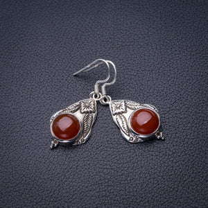 "StarGems Natural Carnelian Handmade 925 Sterling Silver Earrings 1.5"" D6860"