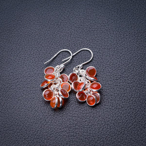 "StarGems Natural Carnelian Handmade 925 Sterling Silver Earrings 1.25"" D6861"