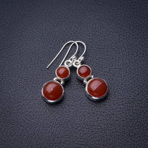 "StarGems Natural Carnelian Handmade 925 Sterling Silver Earrings 1.25"" D6863"