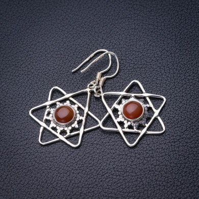 StarGems Natural Carnelian Star Handmade 925 Sterling Silver Earrings 1.5