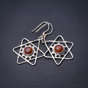 "StarGems Natural Carnelian Star Handmade 925 Sterling Silver Earrings 1.5"" D6864"