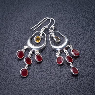 StarGems Natural Carnelian And Citrine Handmade 925 Sterling Silver Earrings 2