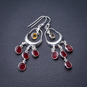 "StarGems Natural Carnelian And Citrine Handmade 925 Sterling Silver Earrings 2"" D6865"
