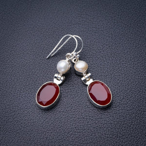 "StarGems Natural Carnelian And River Pearl Handmade 925 Sterling Silver Earrings 1.75"" D6867"