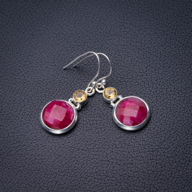 StarGems Natural Cherry Ruby And Citrine Handmade 925 Sterling Silver Earrings 1.5
