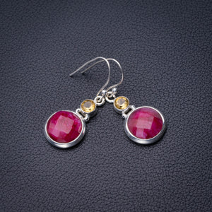 "StarGems Natural Cherry Ruby And Citrine Handmade 925 Sterling Silver Earrings 1.5"" D6879"