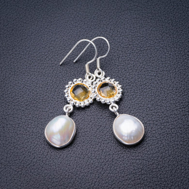 StarGems Natural Biwa Pearl And Citrine Handmade 925 Sterling Silver Earrings 2
