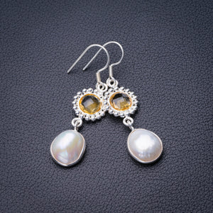 "StarGems Natural Biwa Pearl And Citrine Handmade 925 Sterling Silver Earrings 2"" D6895"