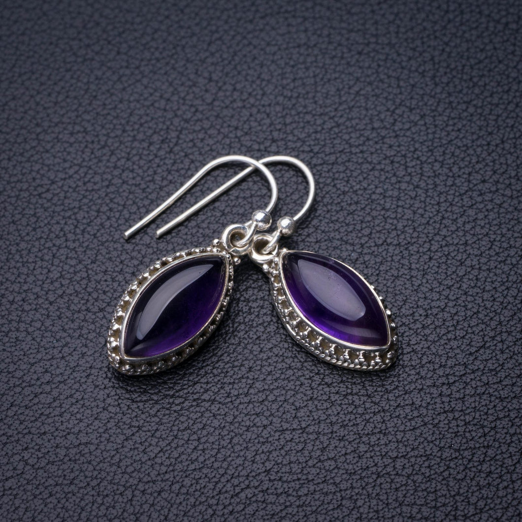 StarGems Natural Amethyst Handmade 925 Sterling Silver Earrings 1.25