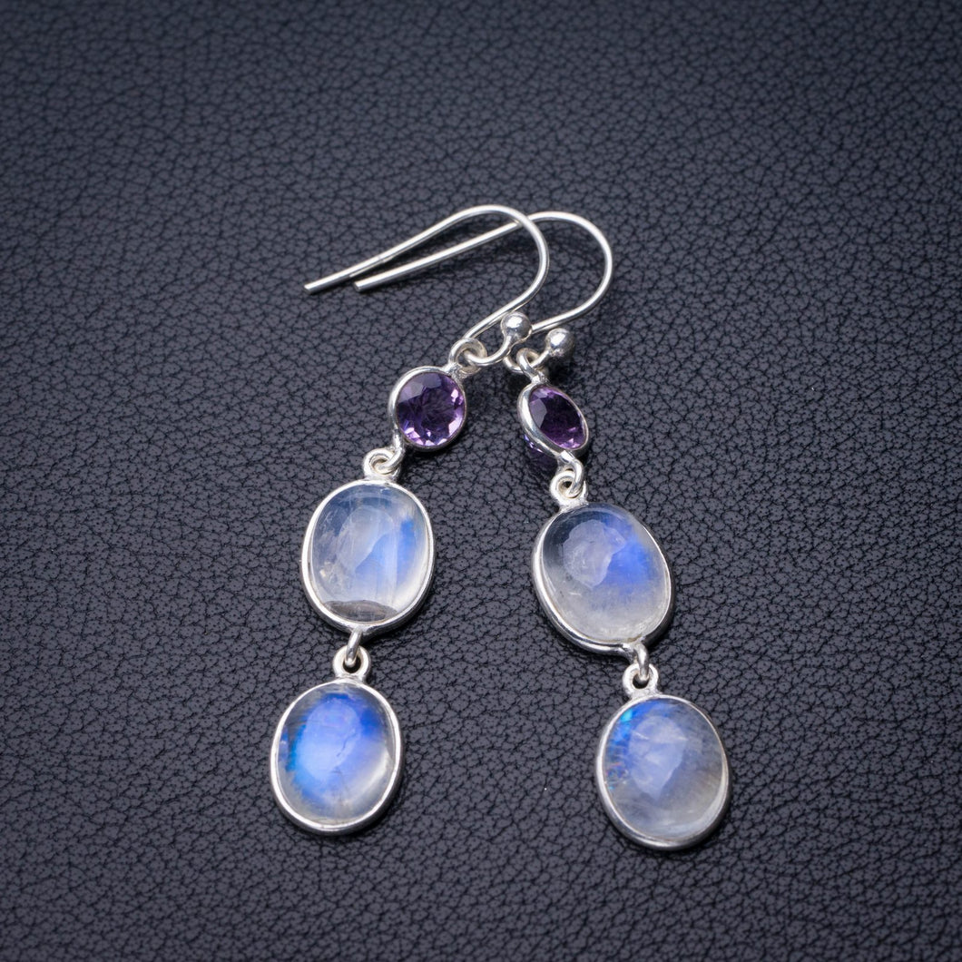 StarGems Natural Rainbow Moonstone And Amethyst Handmade 925 Sterling Silver Earrings 2