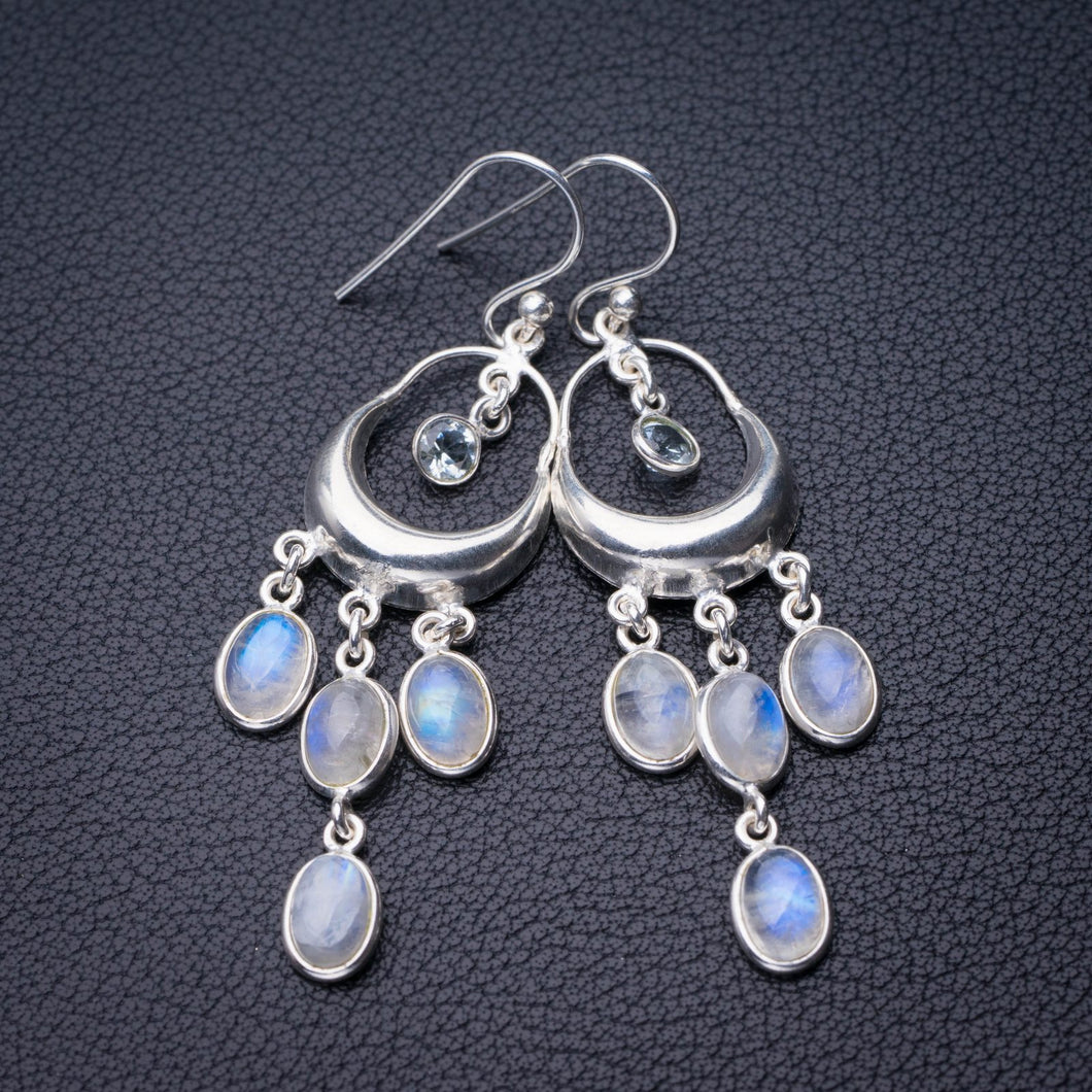 StarGems Natural Rainbow Moonstone And White Topaz Handmade 925 Sterling Silver Earrings 2.25