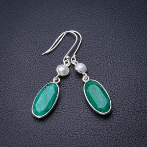 "StarGems Natural Emerald And River Pearl Handmade 925 Sterling Silver Earrings 2"" D7534"