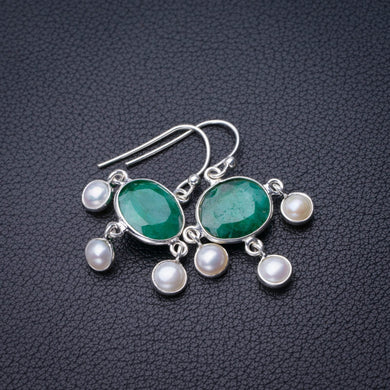 StarGems Natural Emerald And River Pearl Handmade 925 Sterling Silver Earrings 1.25